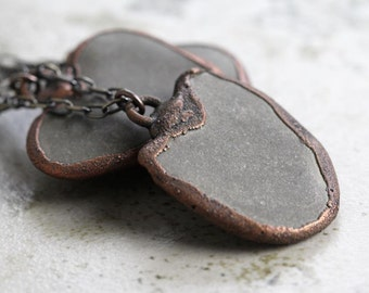 Beach Stone Necklace Electroformed Pendant Copper Necklace Heart Shaped Stone Rustic Romantic Beachcomber Vancouver Island Grey Stone