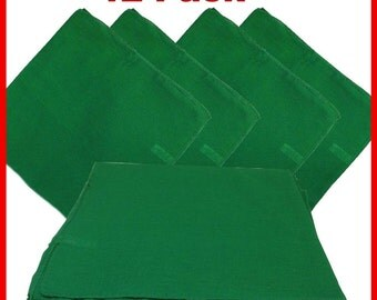 """Green Solid Bandanas -  27"""" x 27"""" 12 Pack (extra large) 100% Cotton"""