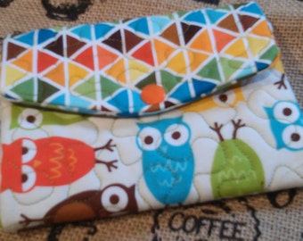 Handmade - Custom -  Ladies - Womans Trifold Fabric Wallet - Wristlet -  Washable - Quilted - Owls -