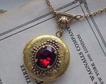 Art Deco Style ~ Garnet Locket ~ Art Nouveau ~ Necklace ~ Pendant ~ Vintage Glass ~ January Birthstone ~ By LadyofTheLakeJewels