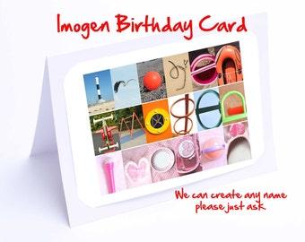 Imogen Personalised Birthday Card