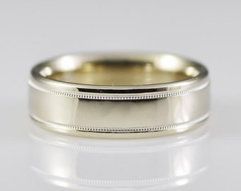 Vintage 14K White Solid Gold Low Dome Comfort Fit 7mm Wide Band Size 11