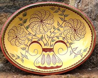3 Flowers Bowl - Pennsylvania Redware -  SG458