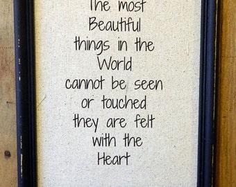 "Helen Keller Quote ""The most beautiful""  Love Poem-Wedding-Custom-Nursery-Anniversary Gift - Inspirational Quote"