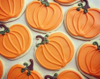 Iced Shortbread Pumpkins (1 Dozen)