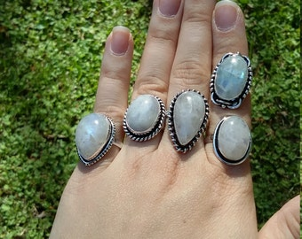 On sale. Moonstone rings, 5 styles to choose from.