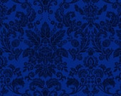 Damask Style Fabric - Botanica 3 The Royal Story Collection for Henry Glass - 8414 77 Royal Blue - Priced by the Half Yard