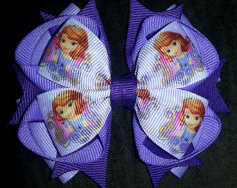 Sofia The First Handmade Stacked Boutique Bow