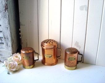 Vintage Copper Salt and Pepper and Cheese Shakers, Rustic Salt and Pepper Shakers, Farmhouse Kitchen, Vintage Cheese Shaker, Cottage Chic