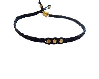 Black and Gold Braided Friendship Bracelet