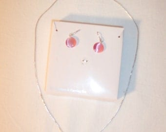 Full moon run in pink:  Pink glass disc with horse pendant.  Has matching pink wire earrings