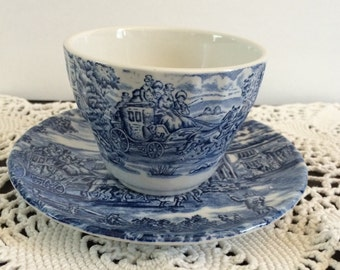 Blue and White Cup and Saucer The Post House by Bursley Ironstone England