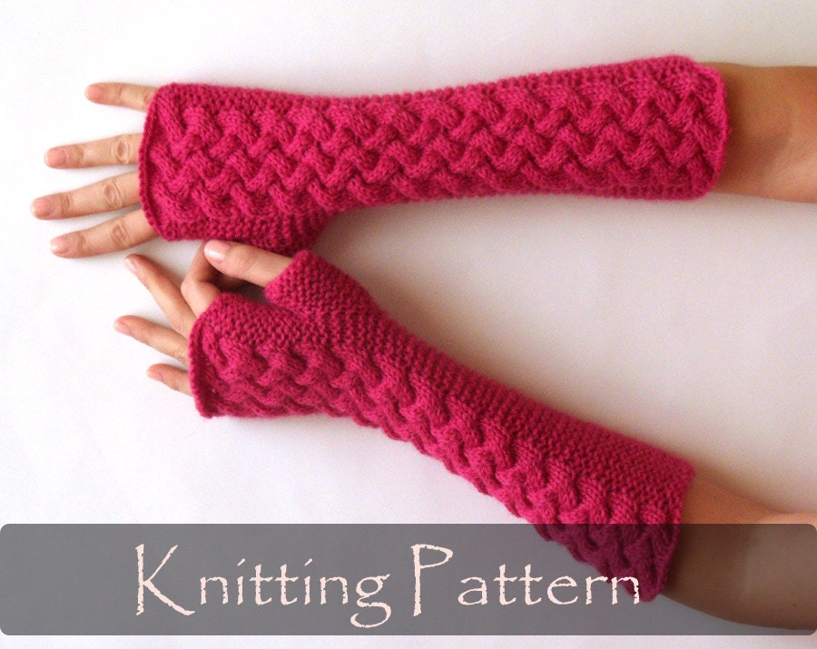 Knitted Glove Patterns : KNITTING PATTERN Cable Fingerless Gloves Knit Pattern Arm