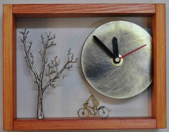Desc clock, handmade,  with bronze sculptures of cyclist and tree, wood and metal art object-clock.