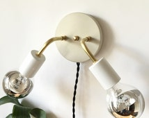 Wall Sconce Brass Double Arm Stone Concrete