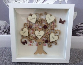 Gorgeous personalised family tree 3d frame...great for girfts