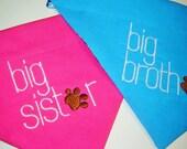 Big Brother or Big Sister Embroidered Dog Scarf Over the Collar Dog Bandana