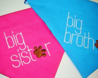 Big Brother or Big Sister Embroidered Dog Scarf Over the Collar Dog Bandana