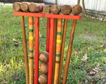 Antique Croquet Set Rustic Wood Stand Mallets Balls Stakes