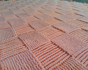Large Sherbet CORAL/SALMON/PEACH Afghan. Basket Weave-Cross Hatch w/ Ruffles. Couch/Chair/Bed/Blanket/Throw/Textured/Cozy Soft Handmade!