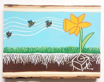 Daffodil Gramophone Wood Slice Painting