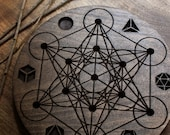 Deluxe Metatrons Cube Sacred Geometry Crystal Grid & Sphere Stand