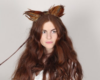 Red Fox Ears, Animal Ears, Fox Headdress, Festival Headdress, Fox Ears Headband