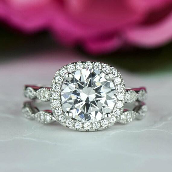 225 Ctw Halo Wedding Set Vintage Inspired Bridal Rings Man