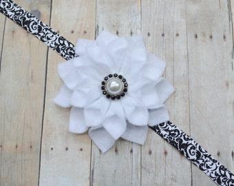 White and black baby headband, black and white newborn headband, large felt flower headband for baby, infant headband with flower