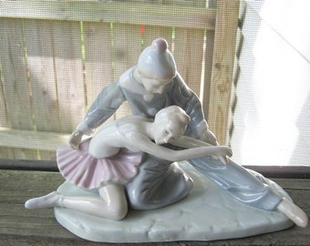 Ballet Figurine, Pale Pink, Blue, And White, Porcelain Figurine,