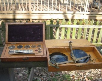 REDUCED.....Vintage Boxed Portable Scales And a Box Of Weights, Made In England, Inscribed 60 Grams, Possible Pharmacy Scales