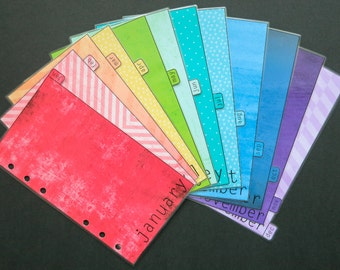 Personal size rainbow monthly dividers Jan-Dec