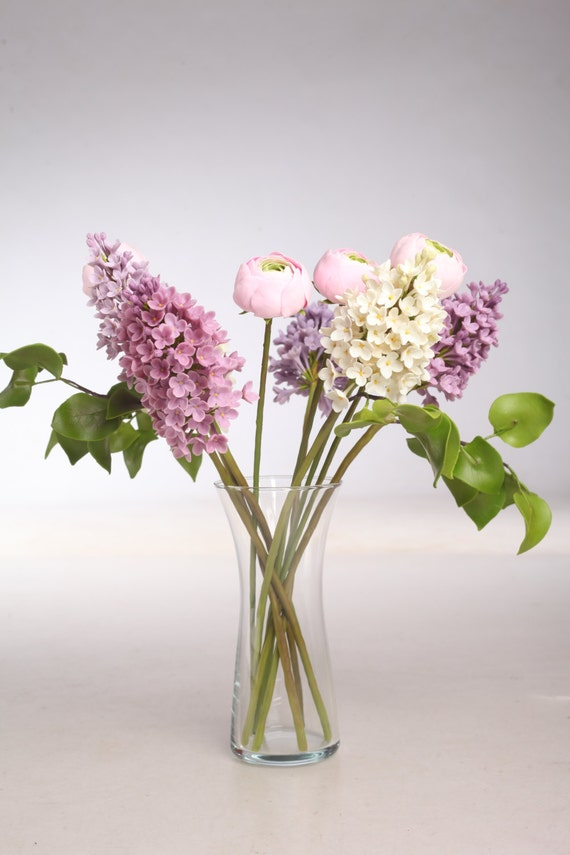 Clay lilac flowers and ranunculus, Home decor, Floral arrangement, Bouquet