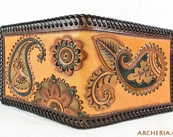 Paisley Wallet / Billfold leather with coin pouch