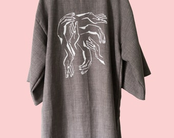 Grey Cotton Kimono with pattern of hands