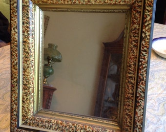 Antique Mirror With Unique Wood Frame