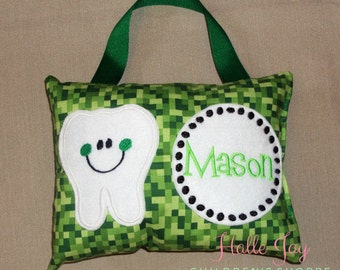 Minecraft Inspired Tooth Fairy Pillow In Green Bitmap Creeper Fabric