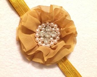 READY TO SHIP: Mustard Baby Headband - rhinestone and pearl - Fall - Autumn