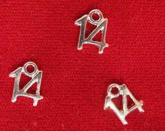 "BULK! 30pc ""14"" charms in silver style (BC958B)"