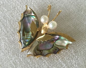 CLEARANCE SALE Mother of pearl butterfly brooch