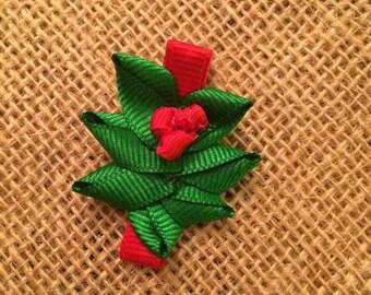 Holly Mistletoe hair clip bow