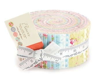 """Ships Today NEW Brenda Riddles FLEURS Jelly Roll 42 - 2.5"""" x 44/45""""  Fabric Strips From Moda"""