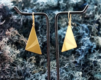 Hand carved triangle brass earring