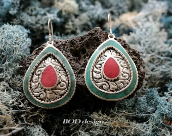 Tibetan hand carved earrings