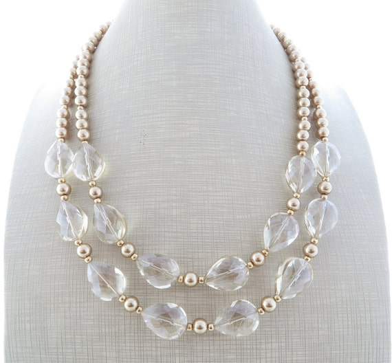 golden statement necklace clear necklace pearl