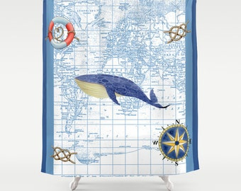 Whale Map Shower Curtain - In Stock - ready to ship -  Nautical, compass rose, one available - Blue, Home Decor Bathroom - blue  coastal