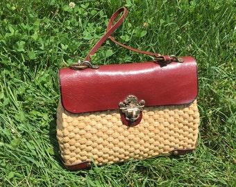 Vintage Woven Straw and Leather Handbag