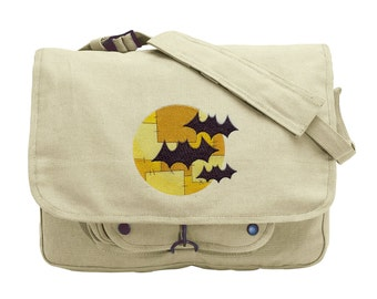 Bats and Patchwork Moon Embroidered Canvas Messenger Bag
