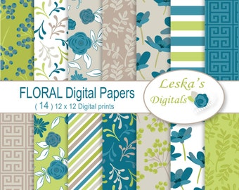 "Digital Scrapbook Paper:""FLORAL DIGITAL BACKGROUND"" spring digital paper, floral invites, flower Scrapbooking Paper,floral printable pattern"