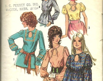 "Simplicity 9513       Misses ""Boho, Peasant, Wood Stock"" Style Blouses   Size 14    C1971"